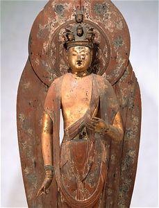 奈良国立博物館 平安時代 12世紀 木造 檜材 寄木造 漆箔 彩色 彫眼 立像 像高178.6 光背高218.2 台座高42.9 新薬師寺(奈良)伝来 重要文化財