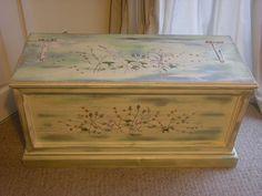 Upcycled Bespoke Designer Shabby Chic Antique Wooden Blanket Box £195.00