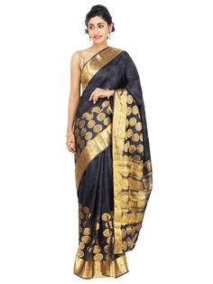 Black and Gold Banarasi Silk Saree with knee-heigh golden circular motifs and…