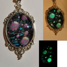 Artful Oasis Fractal Hand Painted Glow in the Dark Photographic Art - 8616.1 #ArtfulOasis #Necklace