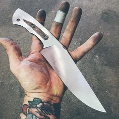 This knife has been fighting its existence every step of the way, it's submitted for the moment. Ready for heat treating. Knife Handle Making, Knife Making, Cool Knives, Knives And Swords, Knife Grinding Jig, Railroad Spike Knife, Knife Shapes, Knife Patterns, Forged Knife