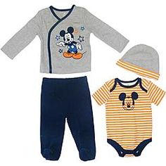 Disney Baby Mickey Mouse Newborn & Infant Boy's 4-Piece Layette Set