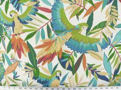 Parrots fly from branch to branch in this tropical print. This fabric, is great for outdoor cushions and pillows as well as indoor projects, and is also fade resistant. This fabric should be cleaned regularly. Small Window Curtains, Long Curtains, Outdoor Curtains, Kitchen Curtains, Outdoor Fabric, Parrot Flying, Outdoor Cushions And Pillows, Fabric Squares, Drapery Fabric