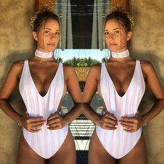 ITFABS New Summer Women Sexy Bikini Set Pink White Striped Swimsuit Swimwear Cross Bandage Bathing Suit