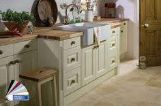 Pale units again, worktop and wood handles