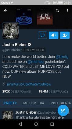 28.07.2016 Justin Bieber zaczął mnie obserwować na twitterze😍