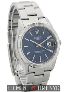 Rolex Oyster Perpetual  Date Stainless Steel 34mm Blue Index Dial Y Serial 15210 - iN Stock ($3,649.00)