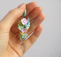 polymer clay fimo earrings, fimo náušnice, lilac flowers, polyclay
