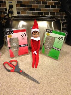 Change out a lightbulb or two for red & green ones.  I could see our elf doing this for every single light in the house, lol.