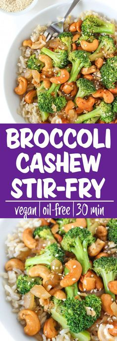 healthy weeknight meals Easy, lightened-up Broccoli Cashew Stir-Fry makes a satisfying weeknight meal! A healthy oil-free stir-fry with fresh flavors of garlic & ginge Tasty Vegetarian Recipes, Veggie Recipes, Whole Food Recipes, Cooking Recipes, Healthy Recipes, Cashew Recipes, Broccoli Recipes, Vegetarian Stir Fry, Vegan Stir Fry