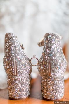 Wedding shoes ideas - glam, bedazzled, heels, rhinestones {Allie.Photo}