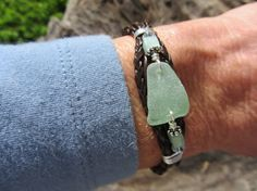 Cool Seafoam Sea Glass and Leather Bracelet by VirginiaNebenzahl