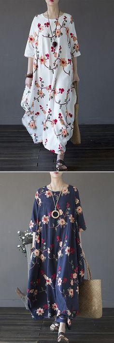 US$29.48 Vintage Floral Embroidered Irregular Half Sleeve O-neck Women Maxi Dress