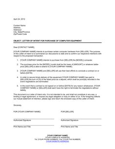 letter of intent for purchase of computer equipment template letter of thirty day notice letter