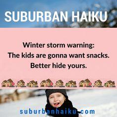 Suburban Haiku - Did You Hear? Winter Storm, Haiku, Of My Life, Poetry, Shit Happens, Humor, Memes, Humour, Moon Moon