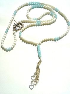 Long white Coral Aquamarine Sterling Silver by Iridonousa on Etsy Gemstone Necklace, Tassel Necklace, Turquoise Necklace, Necklaces, Jewelry Art, Beaded Jewelry, Jewelry Accessories, Jewellery, Silver Rings Online