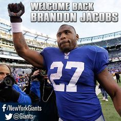 Welcome back Brandon Jacobs New York Giants Football, My Giants, Football Team, American Sports, American Football, Brandon Jacobs, G Man, Professional Football, Nfl