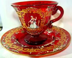 MOSER Ruby Victorian Bohemian CZECH Demi Tasse Cup by GypsySeller, $79.00