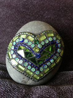 Mosaic Art Rock of Love by Moonjewelsandmosaics on Etsy, $30.00