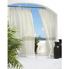Outdoor Decor Escape Voile 54 By 96 Inch Velcro Tab Panel, Ivory U003eu003e · Patio  CurtainsTab Top CurtainsSheer ...