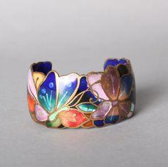 80s BUTTERFLY CUFF BRACELET / 1980s Wide David Kuo Cloisonne Copper Champleve Bracelet