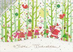 Turnowsky Weihnachtskarte mit Weihnachtsmann und Kindern im Wald. Auf den Bäumen sitzen Eulen und Eichhörnchen. Frohe Weihnachten
