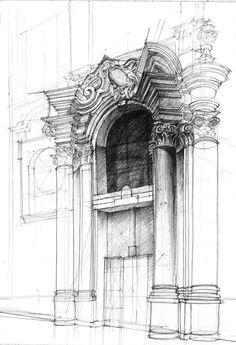 Kurs rysunku DOMIN Poznań - Portal barokowy Fary Poznańskiej. Rysunek długopisem / architektura