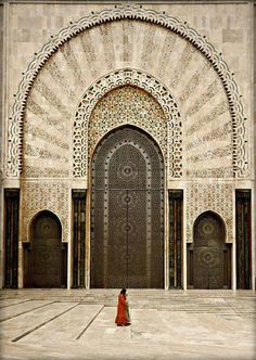 Beautiful Islamic architecture // The Grande Mosquée Hassan II is a mosque in Casablanca Morocco. It is the largest mosque in Morocco and the largest in the world. Its minaret is the world's tallest at 210 metres ft). Islamic Architecture, Beautiful Architecture, Art And Architecture, Marrakech, Beautiful Mosques, Beautiful Places, Beautiful Pictures, Beautiful Poetry, Moorish