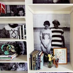 8      Facebook     Twitter     Google Plus     Pinterest  Make a Family Photo Bookshelf  A project that combines two of our favourite things: vintage photos and bookshelves. Blogger Elsie Larson of A Beautiful Mess simply copied favourite family photos and then used an X-Acto knife and double-sided tape to adhere the photos to the back of a bookshelf. See the full tutorial here.