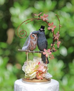 RESERVED for MATT & ALEX  Romantic Owl and Raven wedding cake topper and matching stamp by TeaOlive on Etsy