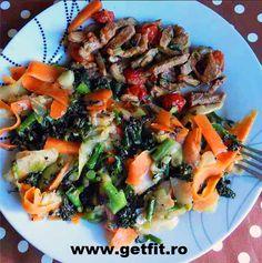 """Reteta de """"tigaie"""" de vita cu legume (dovlecel, broccoli, telina, morcov, rosii cherry) pregatita sanatos, fara prajire."""