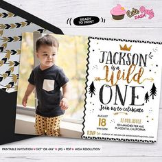 King of all wild things Printable Invitations Black and gold printable Birthday invite - Printable DIY Invitation - Personalized Invite card DIY party printables will save you time and money while making your planning a snap! Wild One Birthday Invitations, Wild One Birthday Party, Gold Invitations, Printable Invitations, First Birthday Parties, Party Printables, Birthday Party Themes, First Birthdays, Boy Birthday