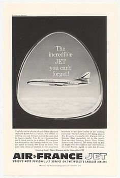 1959 Air France Airlines Caravelle Jet Photo Ad