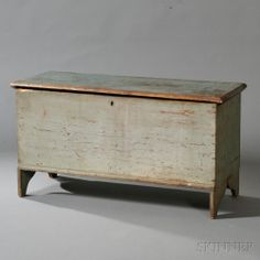Gray/Blue-painted Pine Blanket Chest   Sale Number 2667T, Lot Number 844   Skinner Auctioneers