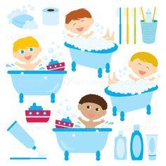 Baby Bath Time Clipart Shower Clip Art Rubber Duck Instant Download