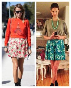 Day 13 of the VSL Pinterest Project. And who said you shouldn't wear sweats in public? Working the sweatshirt with a fun vintage floral skirt, and took things from casual to glam with some J Crew costume jewelry. I'll be wearing this again, love