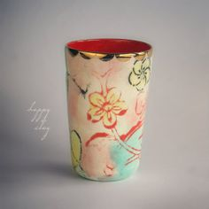 Tall Tumbler in Lotus Garden by HappyClay on Etsy, $35.00