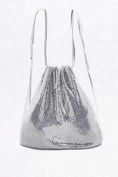Shop Silver Chainmail Drawstring Backpack at Urban Outfitters today. Silver Backpacks, Chain Mail, New Bag, My Bags, Drawstring Backpack, Bucket Bag, Urban Outfitters, Bling, Brand New