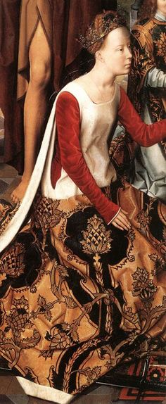 Medieval gown, painted years after being in fashion, because the picture depicts a historical woman. Detail from Saint John Altarpiece (Central Panel) 1474-79, by Hans Memling