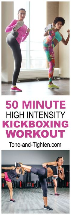 "50 Minute High Intensity Kickboxing Workout on <a href=""http://Tone-and-Tighten.com"" rel=""nofollow"" target=""_blank"">Tone-and-Tighten.com</a>"
