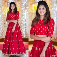 croptop lehenga designs Crop top and lehenga Lehenga Crop Top, Half Saree Lehenga, Lehnga Dress, Red Lehenga, Lehenga Skirt, Crop Top Lehengas, Anarkali, Lehenga Choli Designs, Designer Bridal Lehenga
