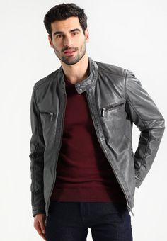 0b995ed4 Oakwood STEVEN - Skinnjakke - grey - Zalando.no Grey Leather Jacket, Leather  Men