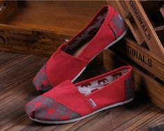 #Toms Womens #Lattice #Slip on Shoes Red| #toms shoes on sale