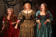 The Swan Theatre during winter as part of the RSC's birthday season.: Matti Houghton, Sara Crowe and Lucy Briggs-Owen in The City Madam. Photo by Ellie Kurttz. Baroque Fashion, Costume Design, Theatre, Dress Up, Musketeers, Gowns, Costumes, 50th Birthday, City