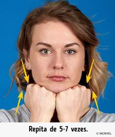 The better way to get rid of a double chin is generally through diet and exercise. If you would like to lose weight your chin area, there are several Yoga Facial, Massage Facial, Facial Muscles, Double Chin Exercises, Neck Exercises, Facial Exercises, Fitness Workouts, Yoga Fitness, Exercise Workouts