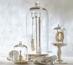 potterybarn glass cloche jewelry storage 49