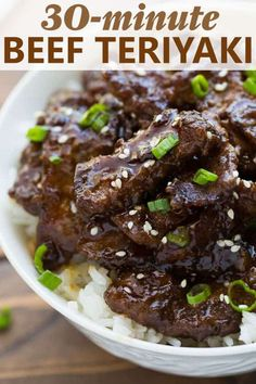 Beef Teriyaki is a quick recipe that's ready in about 30 MINUTES! Crispy beef and a quick teriyaki sauce all made in one pan. Gluten Free Recipes, Beef Recipes, Cooking Recipes, Asian Recipes, Family Recipes, Healthy Recipes, Healthy Food, Whole30 Recipes, Chinese Recipes