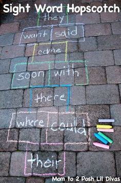 A great activity to take language and literacy outdoors, to help all learning levels this activity can be used as letter hopscotch, for bodily kinaesthetic intelligence's