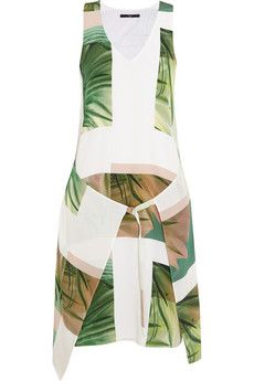 Wish this was the maxi you want but cute with natural leather gladiator sandles Tibi Fiore di cactus printed silk mini dress   THE OUTNET