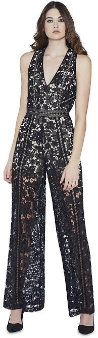 CHELS DEEP V-NECK JUMPSUIT - Black Lace Jumpsuit / The ideal LBD alternative, with a deep V-neck and sheer lace throughout (don't worry, it's lined where you want it to be; sheer where you want to show skin).#Jumpsuit